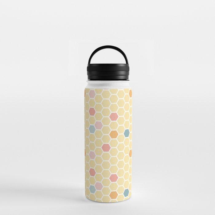 hexagon tile pattern lemon yellow water bottles